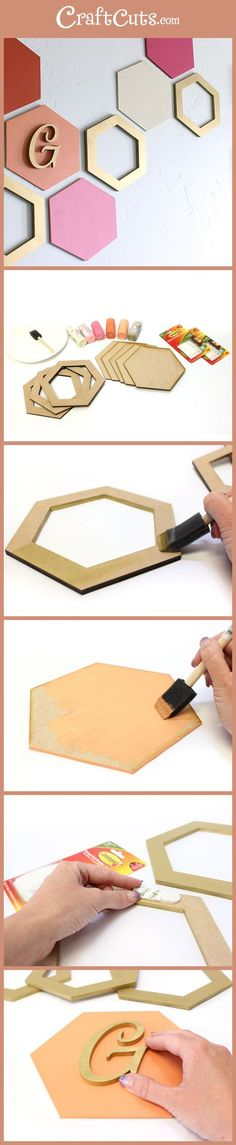 Simple Hexagon Wall Art Geometric Wood Shapes CraftCuts com Easy Home Decor, Diy Room Decor, Wall Decor Crafts, Diy Projects To Decorate Your Room, Diy Wanddekorationen, Cardboard Crafts, Cardboard Boxes, How To Make Diy, Diy Wall Art