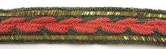 "Trim with Dark Gold Bullion Thread with Coral 1.25"" Wide"