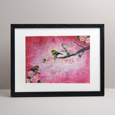 Cherry blossom painting Beautiful Blossom Painting by RishStudio Painting Frames, Painting Prints, Wall Art Prints, Acrylic Paintings, Cherry Blossom Painting, Pink Blossom, Christmas Gifts For Couples, Grandparent Gifts, Nursery Prints