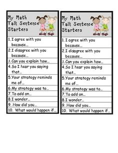 """Math Workshop """"Math Talk"""" bookmarks. Help students start a meaningful conversation about math. Includes a few worksheet activities to get students in the habit of using this math talk! $3"""