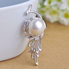 Lussuoso big white pearl spilla pavone rame corpetti per le donne di nozze vestito cappello accessori per capelli 2016 nobile spille pins(China (Mainland))