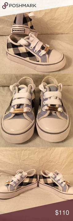 New BURBERRY Rare blue check shoes gold logos sz 8 New without box and tags  Authentic Burberry  RARE Blue check Shoes Size 8  They have the gold logo tags on each shoe. Back heel has burberry on them as well Never worn only sat in closet ( he has way to many clothes, shoes)  Super cute and very hard to find  I have a lot more kids Burberry, Gucci, etc to list ! Thank you! Burberry Shoes Sneakers
