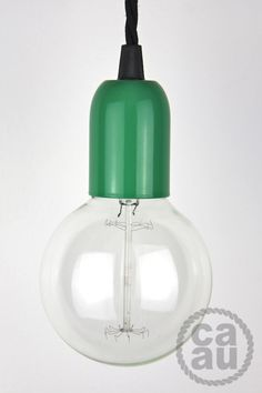 Pendant: Green with Black Twisted Cable - Creative-Cables AU Green Pendant Light, Green Pendants, Trip The Light Fantastic, Cafe Interior, Pendant Lighting, Cleaning Supplies, Cable, Water Bottle, Creative