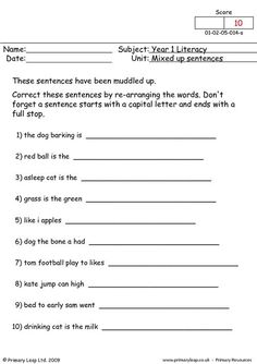 A year 1 primary resource about capital letters and full stops. Students re-write each sentence putting in the missing capital letters and full stops. Writing Sentences Worksheets, Kinds Of Sentences, Literacy Worksheets, 1st Grade Worksheets, Sentence Writing, Free Worksheets For Kids, English Worksheets For Kids, Capital Letters Worksheet, Student Information