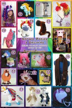 Horses, Ponies & Unicorns Part 2 - Animal Crochet Pattern Round Up via @beckastreasures