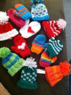 Knit Christmas ornaments using Lion Brand Bon Bon yarn