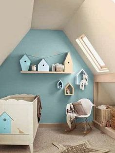 Simple blue baby nursery room with wooden miniature houses. Baby Blue Nursery, Baby Bedroom, Nursery Room, Boy Room, Kids Bedroom, Room Kids, Bird Theme Nursery, Cream Nursery, Room Baby