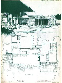 "Paul R. Williams AIA, from 1945 ""The Out-Door America"" (by - neat house Modern Floor Plans, Modern House Plans, House Floor Plans, Architecture Drawings, Architecture Plan, Landscape Architecture, Vintage House Plans, Sims House, Googie"
