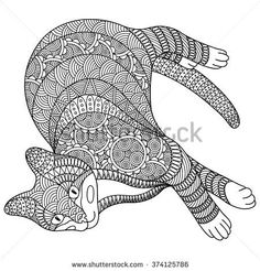 stock-vector--hand-drawn-black-and-white-cat-on-a-white-background-decorative-vector-design-for-coloring-books-374125786.jpg (450×470)