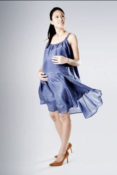 Maternity Strappy Calming Cool Sun Dress in Dusty Navy Blue Thai Silk £16.63 www.mothermoods.com #SALE #maternityclothes #maternitydress