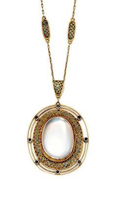 Gold, Moonstone, Plique-à-Jour Enamel and Sapphire Pendant-Necklace, Tiffany & Co., Designed in the Studio of Louis Comfort Tiffany, Circa 1915.