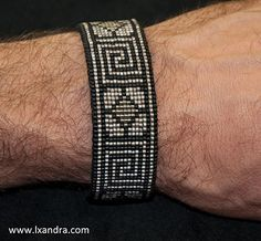 Greek Key woven cuff loom bracelet hand stitched onto leather backing with… Bead Loom Designs, Bead Loom Patterns, Beading Patterns, Stitch Patterns, Beaded Braclets, Bead Loom Bracelets, Macrame Bracelets, Beaded Jewelry Patterns, Bracelet Patterns