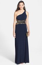 Blondie Nites Embellished One-Shoulder Gown