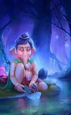 Make this Ganesha Chathurthi 2020 special with rituals and ceremonies. Lord Ganesha is a powerful god that removes Hurdles, grants Wealth, Knowledge & Wisdom. Baby Ganesha, Ganesha Art, Ganesha Drawing, Ganesh Lord, Sri Ganesh, Ganesha Pictures, Ganesh Images, Ganesh Bhagwan, Om Gam Ganapataye Namaha