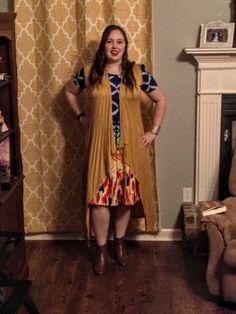 Teaching-With-Class.Com - A Teacher's Fashion Blog - LuLaRoe Amelia, Nine West Booties, Mustard Madrag Duster Vest