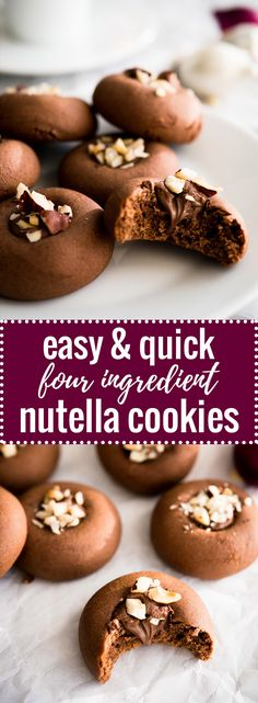These Nutella Cookies are SO easy and quick to make! And you only need FOUR ingredients to make these hazelnut spread stuffed cookies.