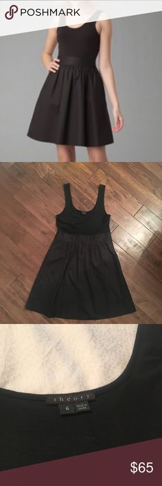 Theory Black Boa Dress So cute. Casual on the top and dressier on the bottom. Really unique. Has pockets!! Super flattering and comfortable. Only worn twice. Theory Dresses Mini