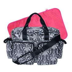 Trend Lab Deluxe Duffle Style Diaper Bag, Midnight Fleur Damask by Trend Lab Trendy Diaper Bags, Baby Diaper Bags, Diaper Bag Backpack, Duffle, Lab, Black And White Fabric, Black White, Pvc Coat, Baby Gear