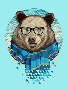 Fauna Hipsters by Bernard Salunga, via Behance Hipster Vintage, Bear Tattoos, Bear Illustration, Hipster Illustration, Bear Art, Arte Pop, Hipsters, Illustrations Posters, Cool Art