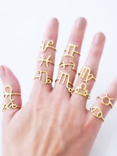 Sterling Silver Horoscope Rings / Personalized Astrology by cieron