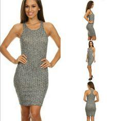 Soft Gray Ribbed Mini Dress W/ High Neckline
