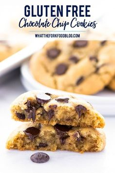 These are the best gluten free chocolate chip cookies you'll ever have! They're buttery, soft in the middle yet firm enough to dunk in a glass of milk. They've got chewy edges and are filled with melt in your mouth chunks of chocolate. Easy to make too! Recipe from @whattheforkblog | whattheforkfoodblog.com | Sponsored | gluten free cookie recipes | homemade #cookies | bakery style cookies | gluten free dessert recipes  #glutenfree #glutenfreecookies #chocolate #chocolatechipcookies…