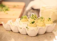 Seriously, these caesar salad stuffed eggs are my secret weapon for when I'm hosting or bringing food to a bbq - people LOVE these! Rachael Ray, who knew?