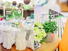 Clarkie's Soccer Themed Party – Table centerpiece Party Table Centerpieces, Table Decorations, Football Themes, Event Ideas, Party Themes, Soccer, Birthday, Home Decor, Fiesta Centerpieces
