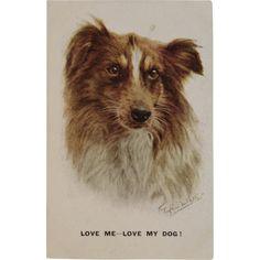 Florence Valter Artist Signed Love Me Love My Dog Postcard Artistique Series 2505