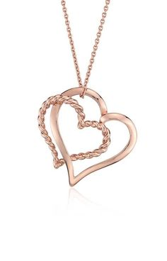 Two hearts are better with this seamless double heart pendant, featuring a twisted design, crafted in enduring 14k rose gold.