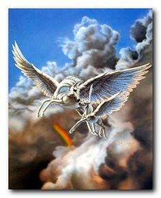 Impact Posters Gallery Framed Wall Decoration First Flight Pegasus with Baby Mythical Sue Dawe Horse Fantasy Framed Picture Art Print Unicorn Fantasy, Unicorn Art, Fantasy Art, Fantasy Story, Mythological Creatures, Fantasy Creatures, Mythical Creatures, Pegasus, Dragons