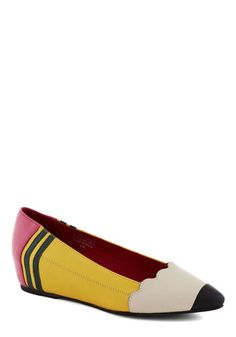 Pencil Me In Heel by Jeffrey Campbell - Yellow, Multi, Novelty Print, Scholastic/Collegiate, Best, Wedge, Low, Leather, Quirky