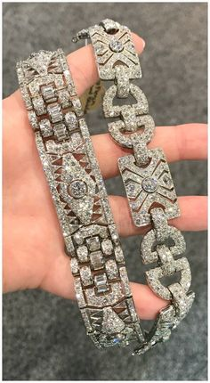 Two beautiful Art Deco diamond bracelets from Steve Fishman. #beautifulfinejewelry #antiquejewelry #ArtDecoDiamond