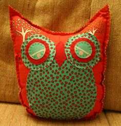 Little Apple Tree Red Owl Pillow by makemorefriends on Etsy, $20.00