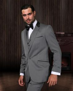 #Men's #3 piece #charcoal #1 button vest lapel #suit with #trim on the #collar & #pocket.$185