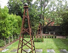 garden obelisk metal - Google Search Wrought Iron Garden Furniture, Iron Furniture, Outdoor Garden Furniture, Planter Boxes, Planters, Growing Roses, Garden Features, Visual Effects, Melbourne