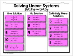 This 10- question sorting activity provides students with practice solving linear systems using all three methods. Students will categorize the linear systems based on their solutions (one solution, no solution, or infinitely many solutions). GREAT practice for