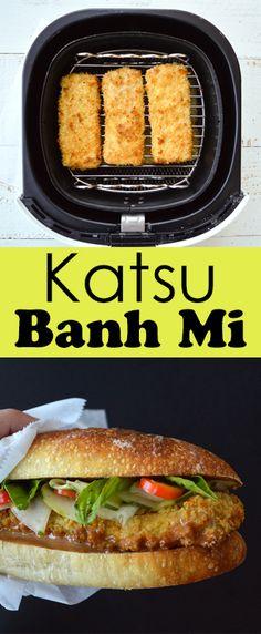Katsu Banh Mi by Zsu's #Vegan Pantry. #Air fryer recipe using #aquafaba in the batter. Delicious crispy #tofu katsu and aioli in a banh mi #sandwich. #vegetarian #meatless #plantbased
