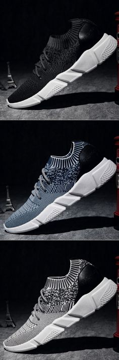 7b0698af4b653 Men Strech Flyknit Fabric Breathable Light Running Shoes Sport Casual  Sneakers Mens New Years Eve Outfit