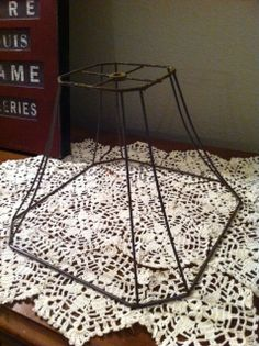 Rusty wire lamp shade frames to use for outdoor chandelier wire vintage wire lamp shade frame rustic chic by fourthandfrolic 1700 keyboard keysfo Choice Image