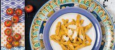 Pesto siciliano - Amêndoas, azeite extravirgem, alho, pecorino (ou ricota de queijo de cabra), tomates frescos, manjericão, sal e pimenta do reino