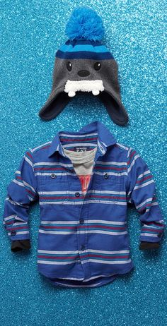 Boys' fashion | Kids' clothes | Button-down shirt | Graphic tee | Pom pom beanie | The Children's Place