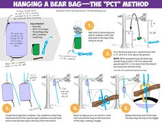 How to hang a bear bag: The PCT Method.