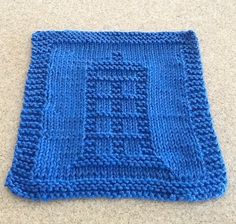 Science Fiction and Fantasy Dish Cloth Knitting Patterns Free Knitting Pattern for Doctor Who TARDIS Dishcloth - Designed by Holynarf Crafts. Pictured project by chkealy. Knitted Dishcloth Patterns Free, Knitting Squares, Knitted Washcloths, Knit Dishcloth, Crochet Stitches Patterns, Loom Knitting, Knitting Stitches, Knitting Patterns Free, Free Knitting