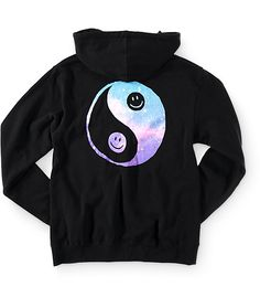 Take your style to a whole new dimension with the comfort of this soft and thick fleece hoodie that features a galaxy print yin yang graphic with happy faces at the chest and back.