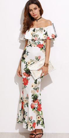 White Flower Print Off The Shoulder Slit Back Fishtail Dress