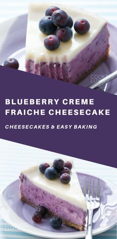 This light and silky cheesecake gets its vibrant purple color from roasted blueberries; with a vanilla cookie crust and a delicate crème fraîche glaze, it might be your new favorite cheesecake! #recipes #easyrecipe #cheesecake #cake #cakerecipes #baking #desserts #dessertfoodrecipes #dessertrecipes #frosting #sweets #glutenfree #glutenfreerecipes