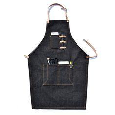 呷茶極簡主義牛仔圍裙服裝設計師工作圍裙餐廳咖啡廳工作圍裙定制