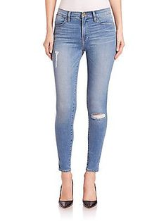 FRAME Le High Distressed Skinny Jeans - Waterford - Size