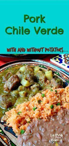 Pork Chile Verde~ With Potatoes - La Piña en la Cocina Pork Recipes, Cooking Recipes, Healthy Recipes, Mexican Cooking, Mexican Food Recipes, Pork And Potato Recipe, Pork Verde, Columbian Recipes, Cake Mix Cobbler